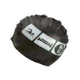 כובע לשחיה סיליקון SharK מודפס שחור ולבן